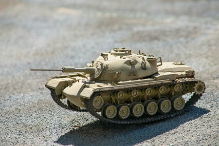 Scale model of israeli tank M-48 on the ground