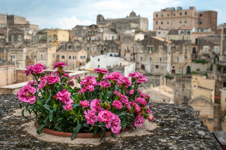 View of the Matera old city, panorama of Matera