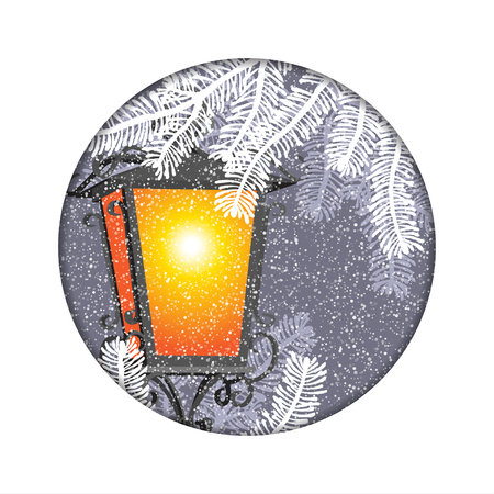 Christmas lantern with snowfall in the night background postcard, new year card Illustration