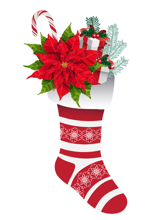 Christmas decorative sock with gifts and flowers vector illustration