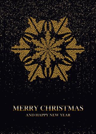Golden snowflake on a black background postcard. Vector illustration