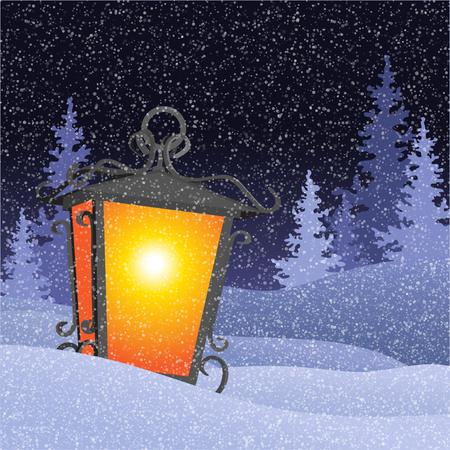 Winter landscape with vintage lantern in snowbanks. Christmas postcard Stock Illustratie