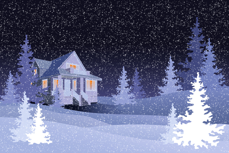 Winter forest with black night sky and a house, vector Иллюстрация