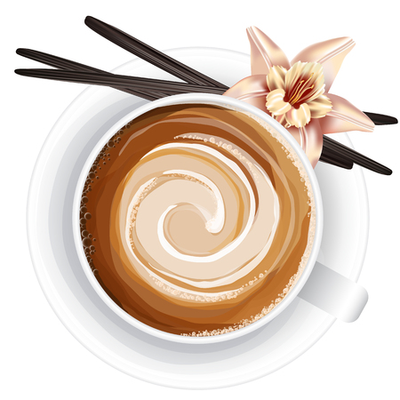 Realistic vector illustration of coffee cup with vanilla pods and flower on white background