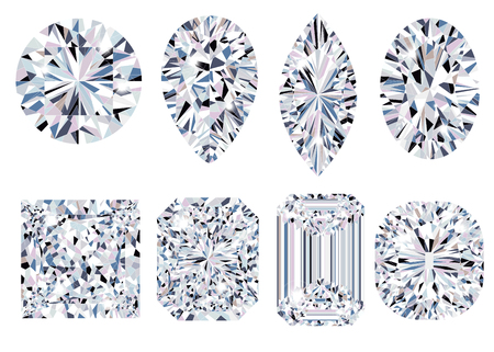 Set of sparkling water clear diamonds of various cut shape. Top view vector illustration
