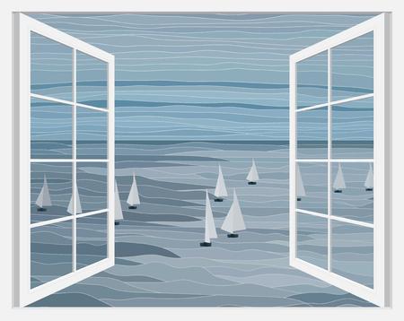 Sailboats in the sea vector landscape illustration through white open window