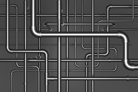 Plumbing pipes on black background 3d illustration Stock Photo