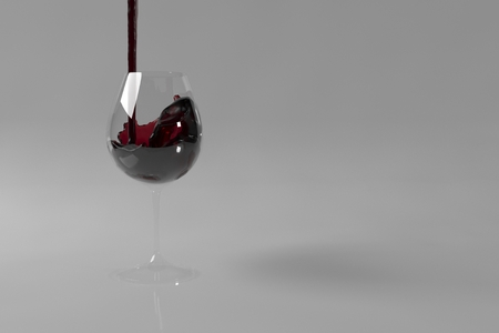 stream of wine being pouring into a glass closeup, 3d illustration