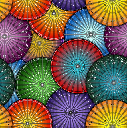 Japanese umbrella seamless pattern. Colorful vector Illustration  イラスト・ベクター素材