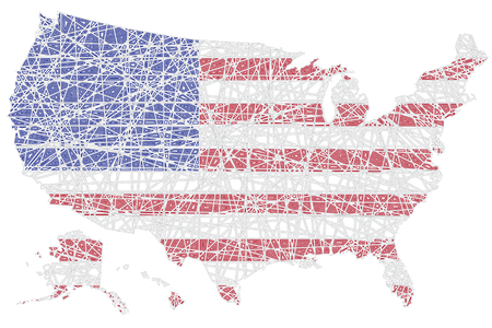 US map shaped on lined American national flag vector illustration