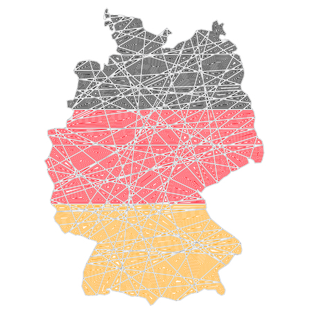 Germany stylized map shaped on tangled textured national flag vector illustration