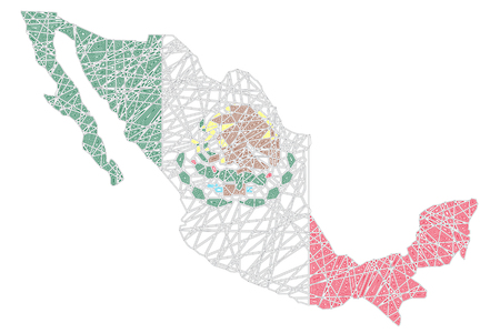 Mexico stylized map shaped on tangled textured Mexican national flag vector illustration Illustration