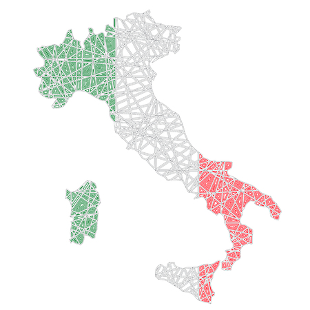 Italy stylized map shaped on tangled textured Italian national flag vector illustration Stock Vector - 124778727