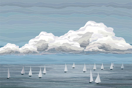 Sailboats in the sea vector landscape illustration with contour Illustration