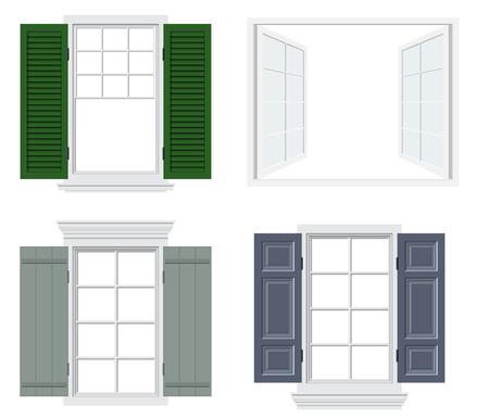 Ensemble de différentes fenêtres avec volets vector illustration Vecteurs