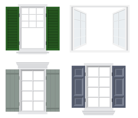 Set of different windows with shutters vector illustration
