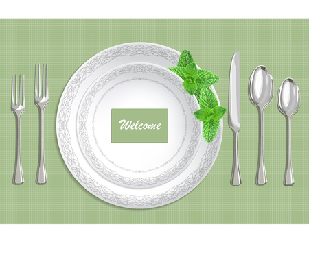 Table setting with plate, spoon, knife and fork on a green fabric background vector illustration Illustration