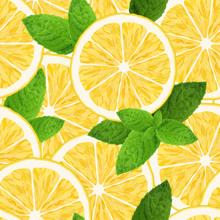 Seamless pattern with lemon and mint on white background. Vector illustration