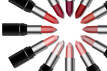 Set of colorful lipstick on white background. Make-up and fashion concept Stock Illustratie