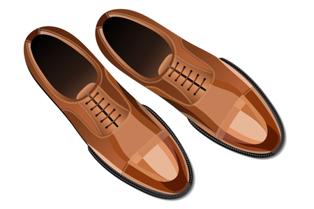 Modern fashionable classic brown men shoes top view vector illustration
