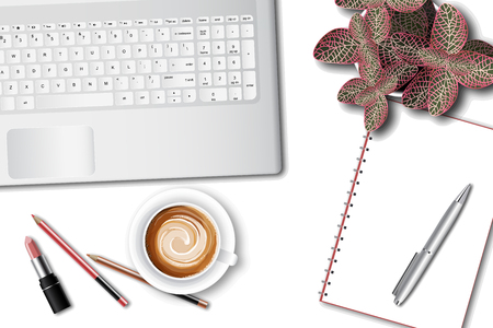Ttop view of the female office table desk. Workspace with laptop keyboard, office supplies, pen, pot plant and coffee cup on white background. vector illustration