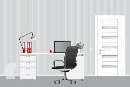 Empty modern office interior. Vector image. Office workspace concept