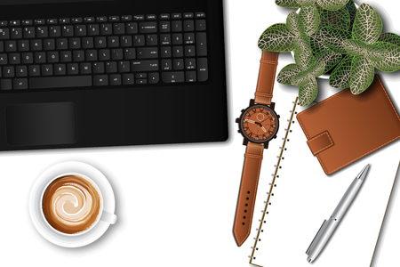 Ttop view of the male, office table desk. Workspace with laptop keyboard, office supplies, pen, pot plant and coffee cup on white background. vector illustration