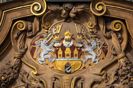 Prague, city coat of arms, ornate emblem of Prague close up Reklamní fotografie