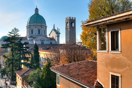 The dome of the Duomo Nuovo cathedral, skyline in Brescia Italy