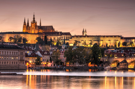 Prague old town, Cech Republic. Praha Castle with churches, chapels and tower