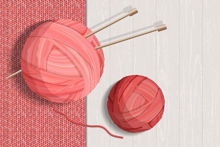 Colorful yarn balls for knitting with knitted pattern vector illustration