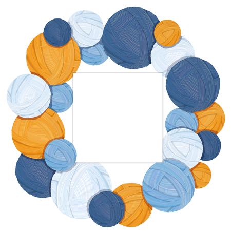 Colorful yarn balls for knitting on white background vector illustration, wreath of woolen balls with place for text Çizim