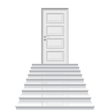 Straight stairway leading to closed door vector illustration. Concept of goal achievement