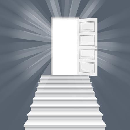 Scala diritta che conduce all'illustrazione vettoriale della porta aperta. Vettoriali