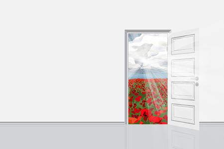 Open door from the room to bright field vector illustration. Freedom concept