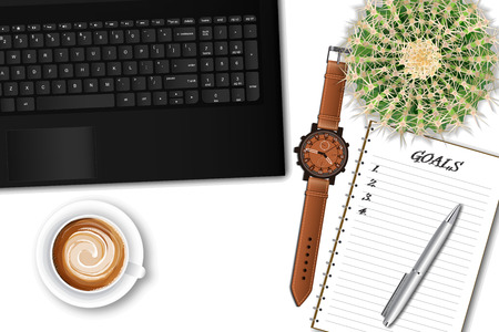 Ttop view of the office table desk. Workspace with laptop keyboard, office supplies, pen, pot plant and coffee cup on white background. vector illustration. Goal achievement or time management concept