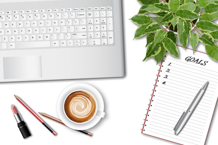 Ttop view of the female office table. Workspace with laptop keyboard, office supplies, pen, plant and coffee cup on white background. vector illustration. Goal achievement or time management concept Çizim