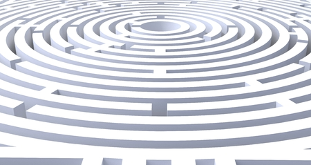 3d render of circular maze abstract white background