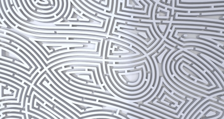 3d render of complicated white maze abstract white background