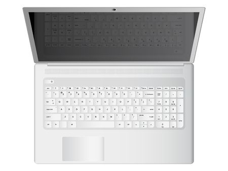 White laptop realistic vector illustration, top view Illustration