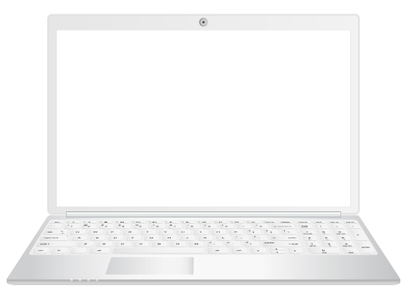 A black laptop realistic vector illustration, front view. Can be used with custom images Çizim
