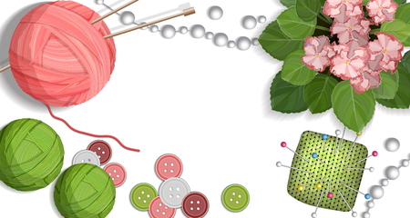 Colorful table with handmade crafts for knitting and sewing accessories vector illustration