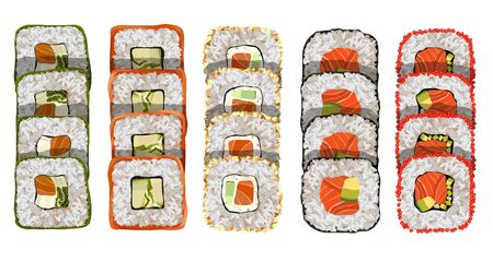 Maki roll with salmon and avocado Delicious japanese food with sushi roll. Иллюстрация