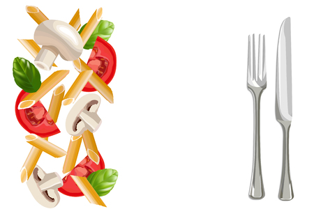 Dry penne pasta with basil, tomatoes, mushrooms, fork and knife aside vector illustration