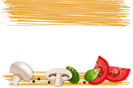 Ingredients for pasta, tomato, champignon, basil and pepper. Food abstract background. Pasta and vegetables on the white background vector illustration
