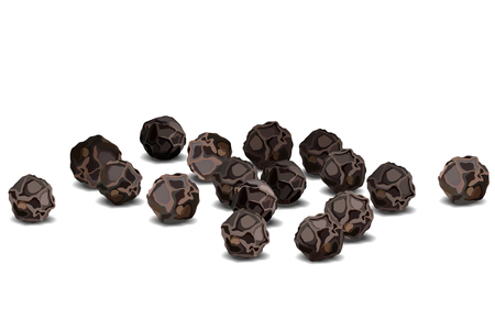 Realistic black pepper closeup vector illustration on white background