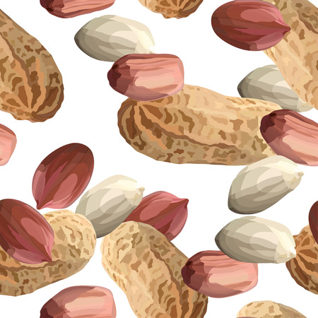 Peanuts in realistic style seamless pattern, organic snack close up vector illustration Illustration