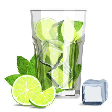 Fresh mojito coctail drink with lime slices, ice cubes and fresh mint leaves vector illustration