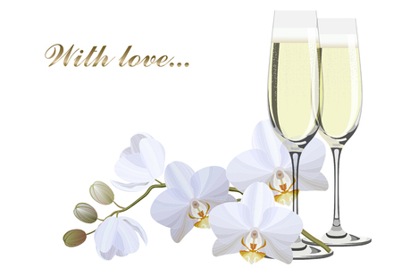Two champagne glasses and a branch of white orchids vector illustration
