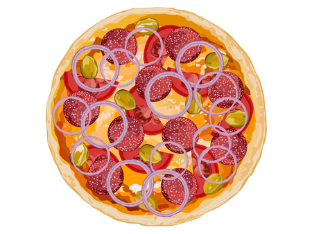 Italian classic original pepperoni pizza with tomatoes and onion on white background vector illustration